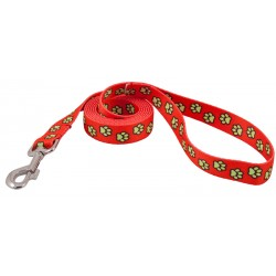 Red Busy Paws Leash