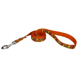Fall Leaves on Orange Ribbon Dog Leash