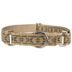 Antique Flowers Woven Ribbon Martingale Dog Collar Limited Edition