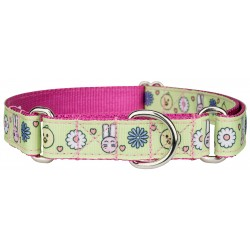 Bunnies and Chicks Ribbon on Rose Martingale Dog Collar - Large Limited Edition