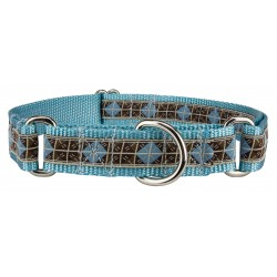 Blue & Brown Diamond Woven Ribbon on Ocean Blue Martingale Dog Collar Limited Edition