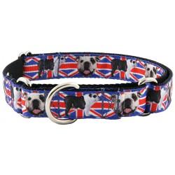 English Bulldog Union Jack Ribbon Martingale Dog Collar