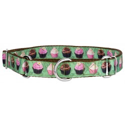 Lime Cupcakes Ribbon Martingale Dog Collar