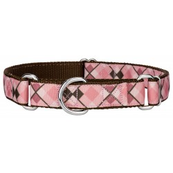 Pink and Brown Argyle Ribbon Martingale Dog Collar
