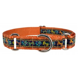 Plaid Bones And Paws Woven Ribbon on Orange Martingale Dog Collar Limited Edition