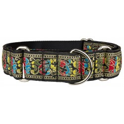 Colorful Paisley Woven Ribbon Martingale Dog Collar
