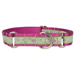 Fresh Spring Floral Woven Ribbon on Rose Martingale Dog Collar Limited Edition