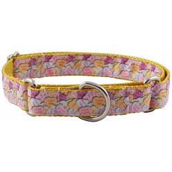 Valentine's Heart Candy on Gold Designer Ribbon Martingale Dog Collar Limited Edition