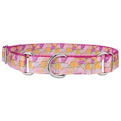 Valentine's Heart Candy on Rose Designer Ribbon Martingale Dog Collar-Large-Limited Edition