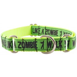 Green Walk Like a Zombie Ribbon Martingale Dog Collar Limited Edition