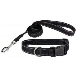 Deluxe Black Reflective Nylon Dog Collar & Leash