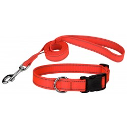Deluxe Blaze Orange Reflective Nylon Dog Collar & Leash