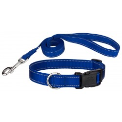 Deluxe Royal Blue Reflective Nylon Dog Collar & Leash