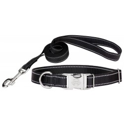 Premium Black Reflective Nylon Dog Collar & Leash