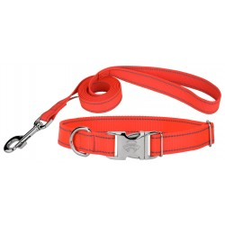 Premium Blaze Orange Reflective Nylon Dog Collar & Leash