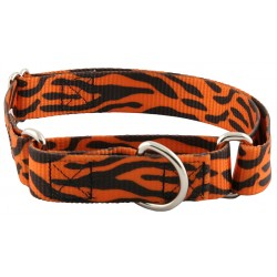 Orange Tiger Stripe Martingale Dog Collar