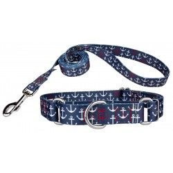 Anchors Away Martingale Dog Collar & Leash