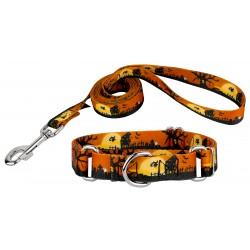 All Hallow's Eve Featherweight Martingale Dog Collar & Leash - Extra Small