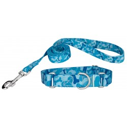 Blue Bone Camo Martingale Dog Collar & Leash