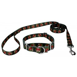 Black Candy Cane Martingale Dog Collar & Leash