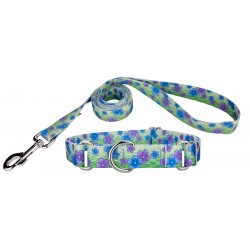 Blue April Blossoms Martingale Dog Collar & Leash