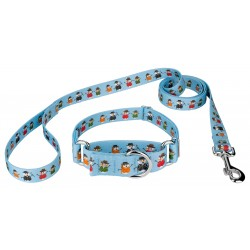 Caroling Snowmen Martingale Dog Collar & Leash