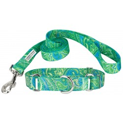 Green Paisley Featherweight Martingale Collar & Leash - Extra Small