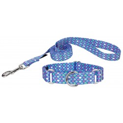 Mermaid Scales Featherweight Martingale Dog Collar & Leash - Extra Small