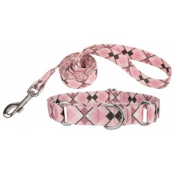 Pink and Brown Argyle Martingale Dog Collar & Leash