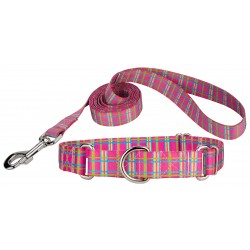 Bubblegum Pink Plaid Featherweight Martingale Dog Collar & Leash - Extra Small