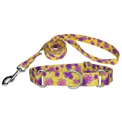 Purple April Blossoms Martingale Dog Collar & Leash