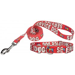 Red Service Martingale Dog Collar & Leash