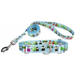 Snowman Party Featherweight Martingale Dog Collar & Leash - Extra Small