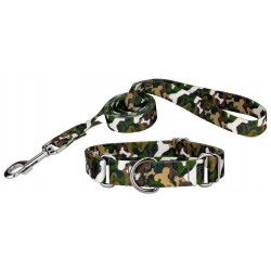 Woodland Bone Camo Martingale Dog Collar & Leash