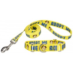 Yellow Adopt Me Martingale Dog Collar & Leash - Closeout