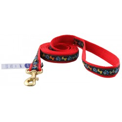 Premier Plaid Bones and Paws Jacquard Ribbon Dog Leash - Closeout - 6X1