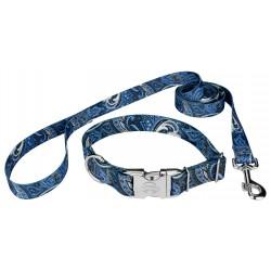 Blue Paisley Premium Dog Collar & Leash