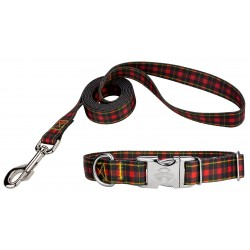 Buffalo Plaid Premium Dog Collar & Leash