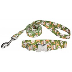 Baseball Premium Dog Collar & Leash
