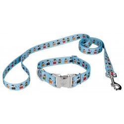 Caroling Snowmen Premium Dog Collar & Leash