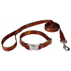 Fire Paisley Premium Dog Collar & Leash