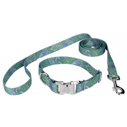 Green Paisley Premium Collar & Leash