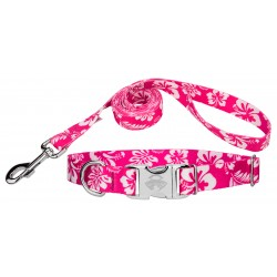 Pink Hawaiian Premium Dog Collar & Leash