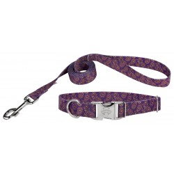 Purple Paisley Premium Dog Collar & Leash