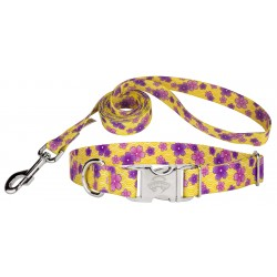 Purple April Blossoms Premium Dog Collar & Leash