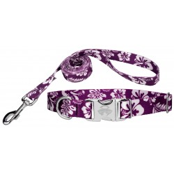 Purple Hawaiian Premium Dog Collar & Leash