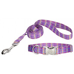 Grape Plaid Premium Dog Collar & Leash