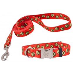 Red Busy Paws Premium Collar & Leash