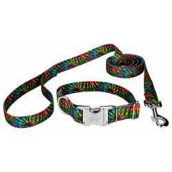Tie Dye Stripes Premium Dog Collar & Leash