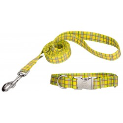 Banana Plaid Premium Dog Collar & Leash